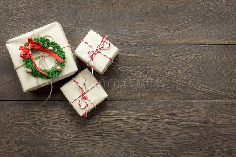 Overhead view of Merry Christmas decorations concept background. royalty free stock photo