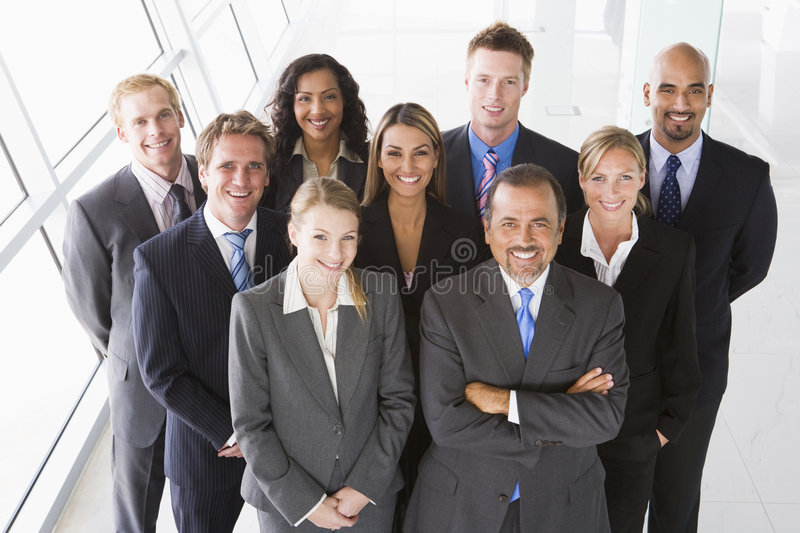 Overhead view of office staff royalty free stock image
