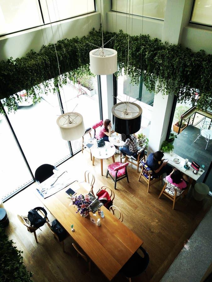 Overhead view of restaurant interior royalty free stock photos