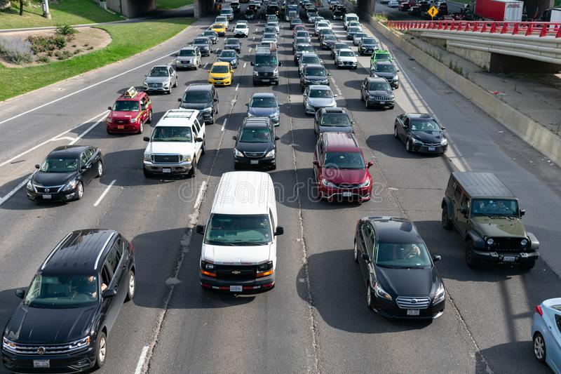 Traffic along the Kennedy Expressway during Rush Hour in Chicago stock photo