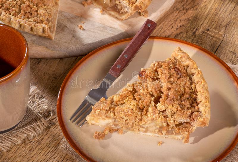 Slice of Dutch Apple Pie on a Plate royalty free stock photos