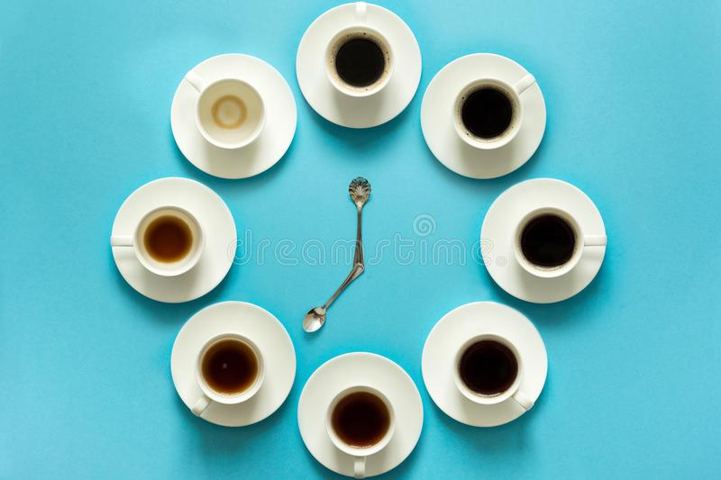 Overhead view of the steps in drinking a cup of fresh espresso. Coffee clock. Art food. Good morning concept.  stock photo