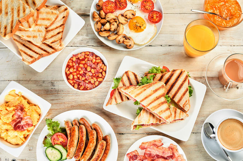 Overhead view of a table with english breakfast. royalty free stock photos