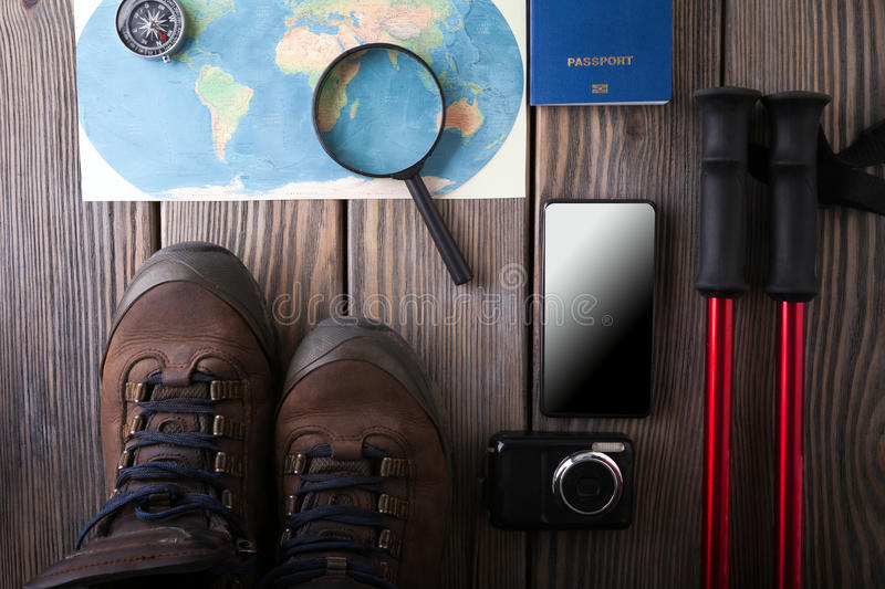 Overhead view of Traveler's accessories, Essential vacation items, Travel concept background. Overhead view of Traveler's accessories, Essential vacation items stock images