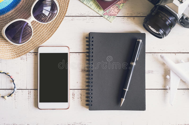 Overhead view of Traveler`s accessories and items stock image