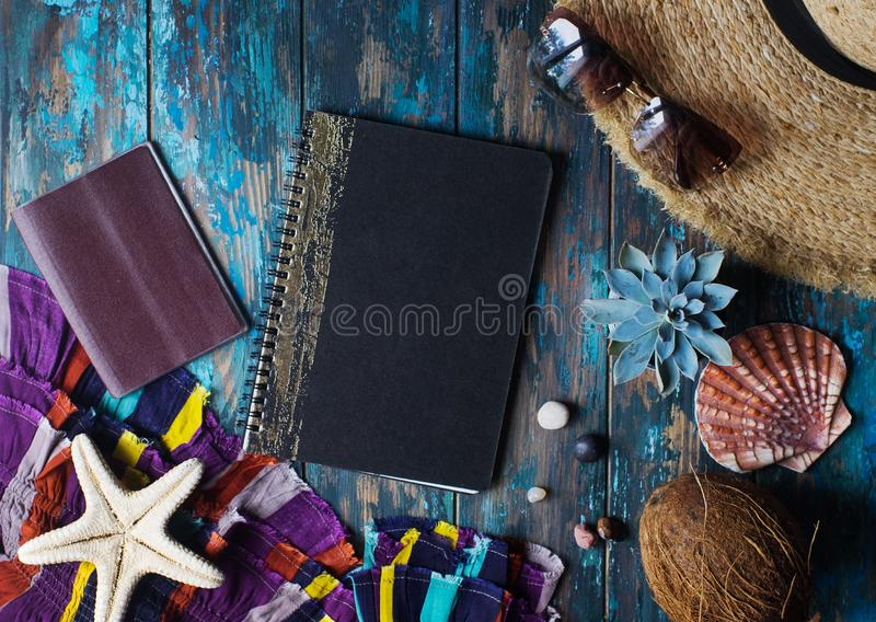 Overhead view of vacation accessories on tustic wooden table, travel planing concept. Trip without baggage, traveller lifestyle, holiday, summer, plane, camera stock images