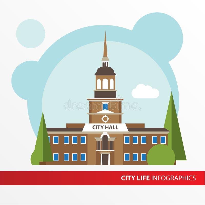 Overheid de bouwpictogram in de vlakke stijl Columned bouw Concept voor infographic stad vector illustratie