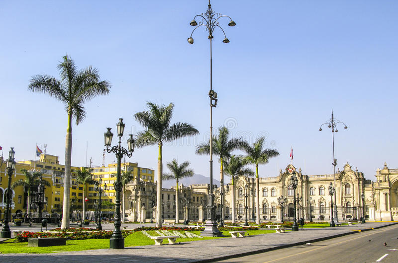 Overheidspaleis in Plaza DE Armas in Lima, Peru stock foto