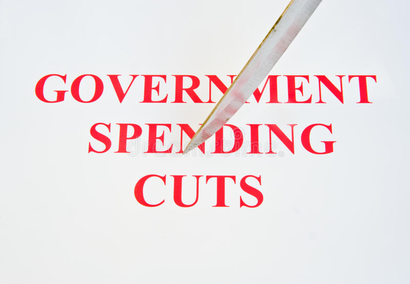 Overheidsuitgavenbesnoeiingen. stock fotografie