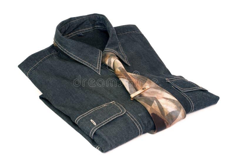 Overhemd met band en stickpin stock foto