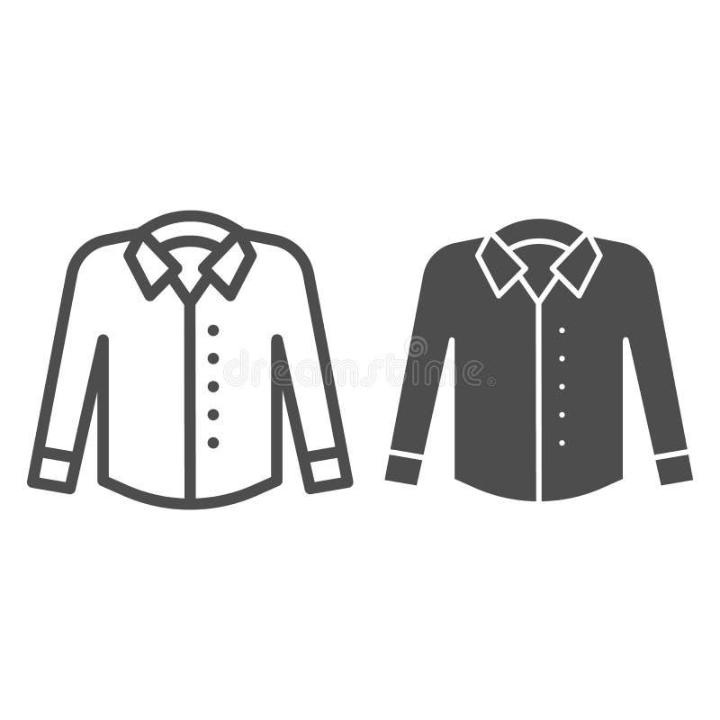 Overhemd met lang kokerslijn en glyph pictogram Formele kledings vectordieillustratie op wit wordt geïsoleerd Het overzicht van h stock illustratie