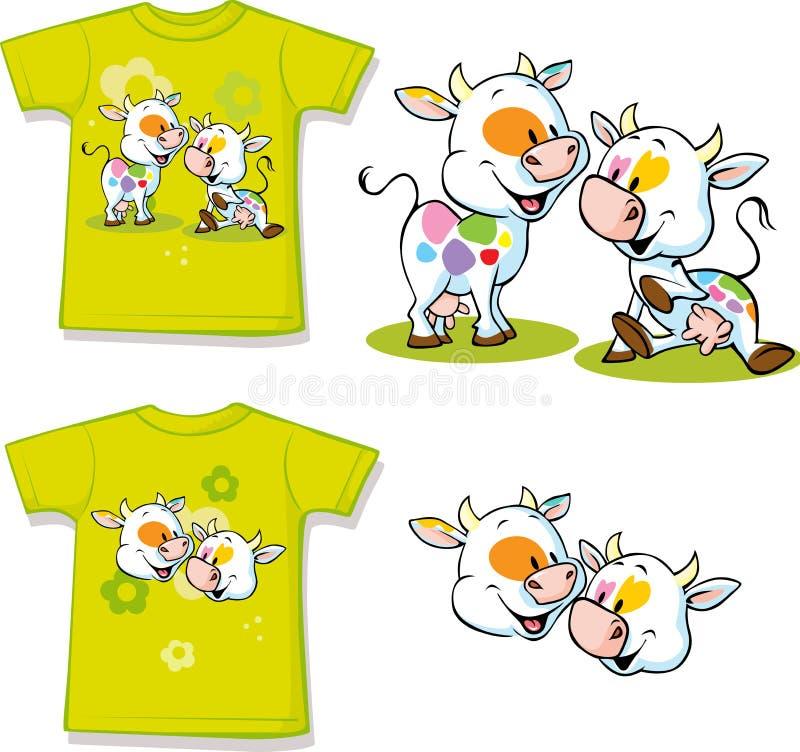 Overhemd met leuk koebeeldverhaal - vector vector illustratie