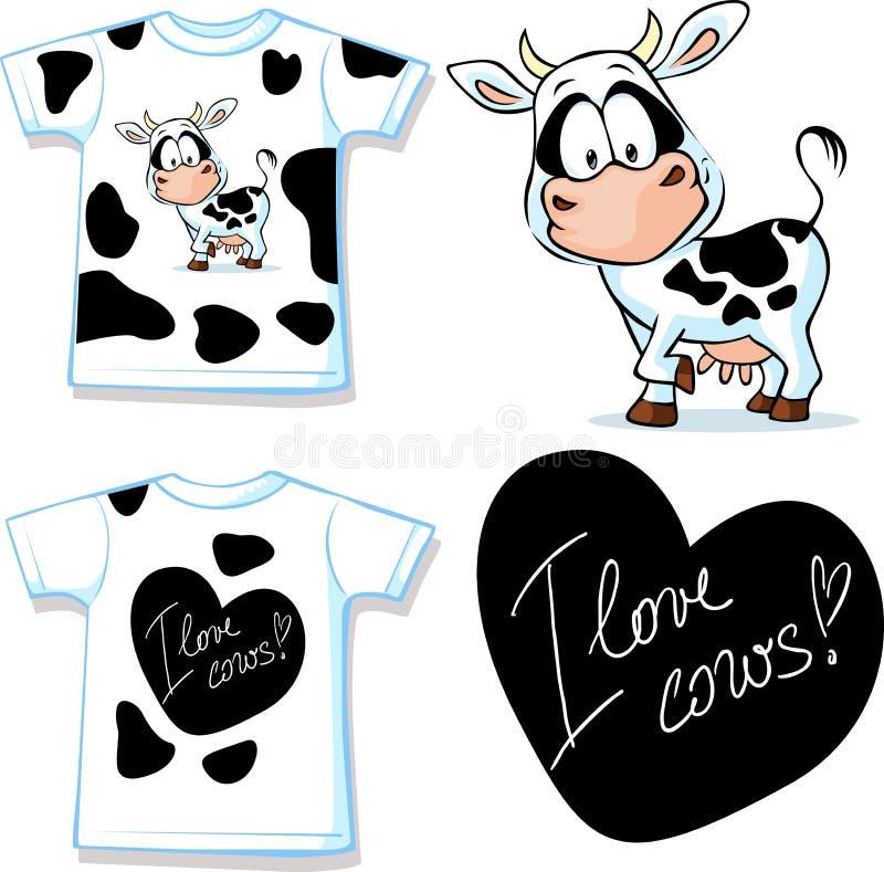 Overhemd met leuke zwart-witte koe - vector royalty-vrije illustratie