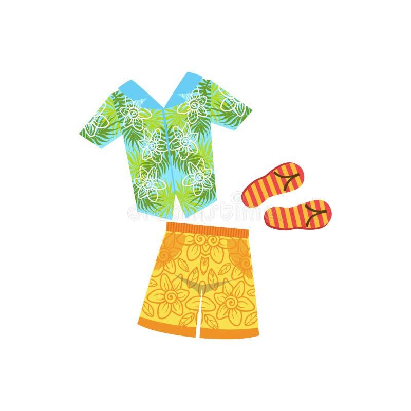 Overhemd, van Swimshorts en van de Wipschakelaars Hawaiiaans Vakantie Klassiek Symbool vector illustratie
