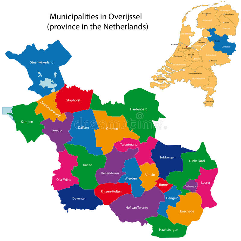 Overijssel - province of the Netherlands. Administrative division of the Netherlands. Map of Overijssel with municipalities royalty free illustration