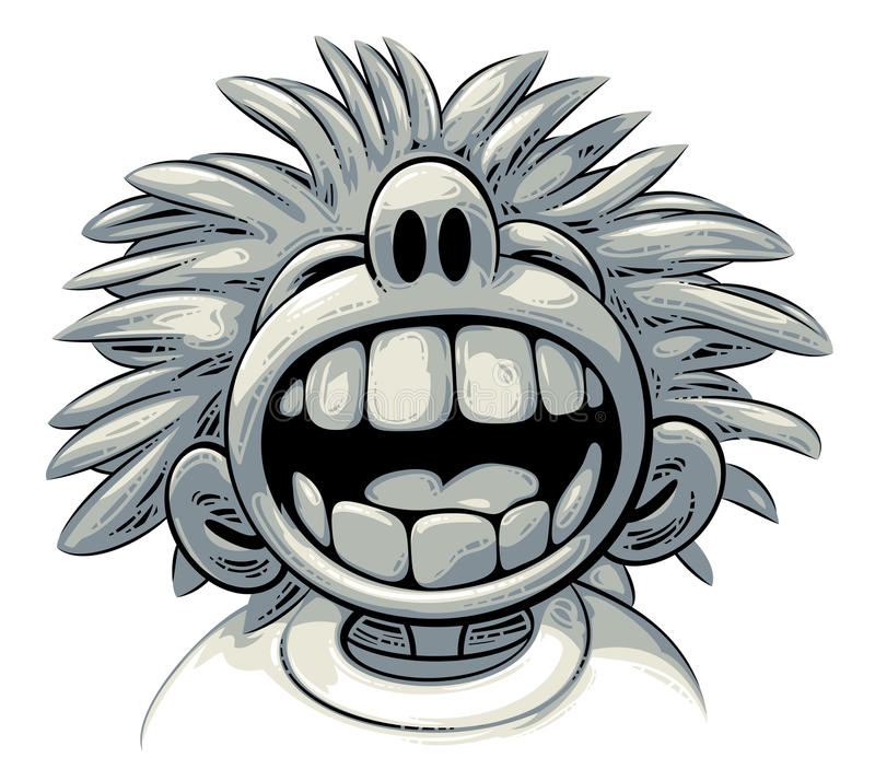 Overjoyed laugh. Cute crazy boy with big teeth and wild hair style is laughing out loud royalty free illustration