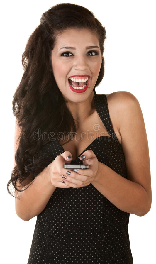 Overjoyed Woman with Phone royalty free stock photography