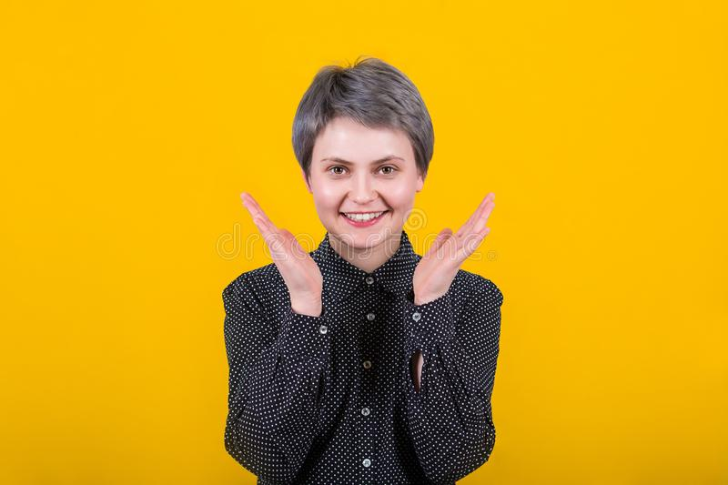 Overjoyed woman spread hands royalty free stock photos