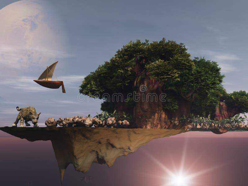 overklig flottörhus ö för dreamscape royaltyfri illustrationer