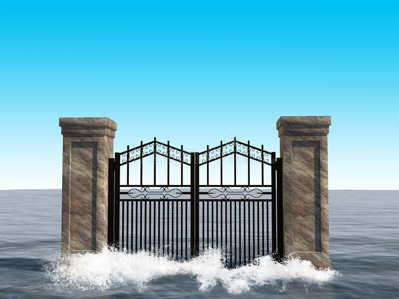 Overklig illustration för havportbakgrund stock illustrationer