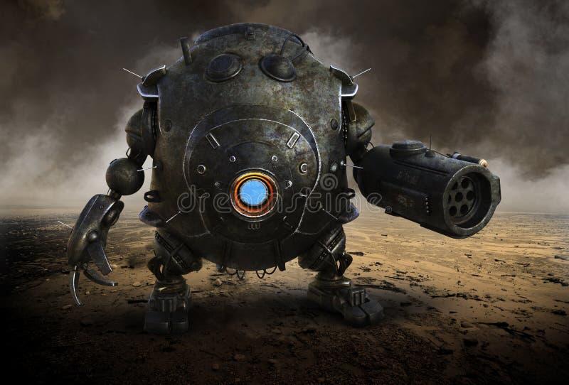 Overklig krigrobot, fara, maskin, ondska stock illustrationer