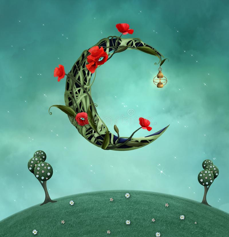 Overklig måne över en grön kulle royaltyfri illustrationer