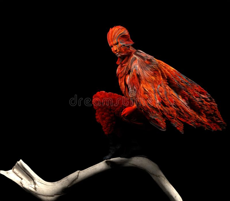 Overklig mänsklig fågel på svart bakgrund royaltyfri illustrationer