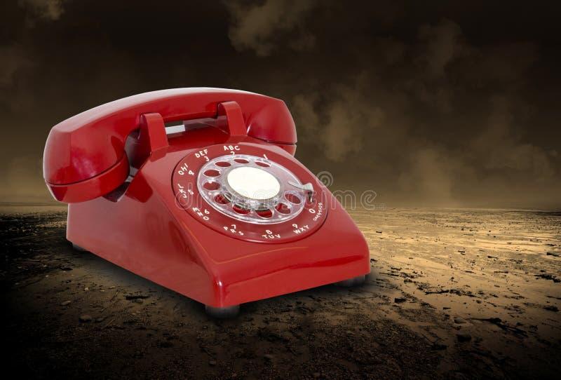 Overklig röd telefon, försäljningar, marknadsföring, telefon arkivbild