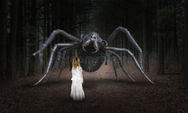Overklig spindel, ung flicka, monster arkivfoto