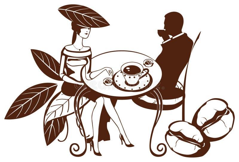 overklig tea för kaffepar royaltyfri illustrationer