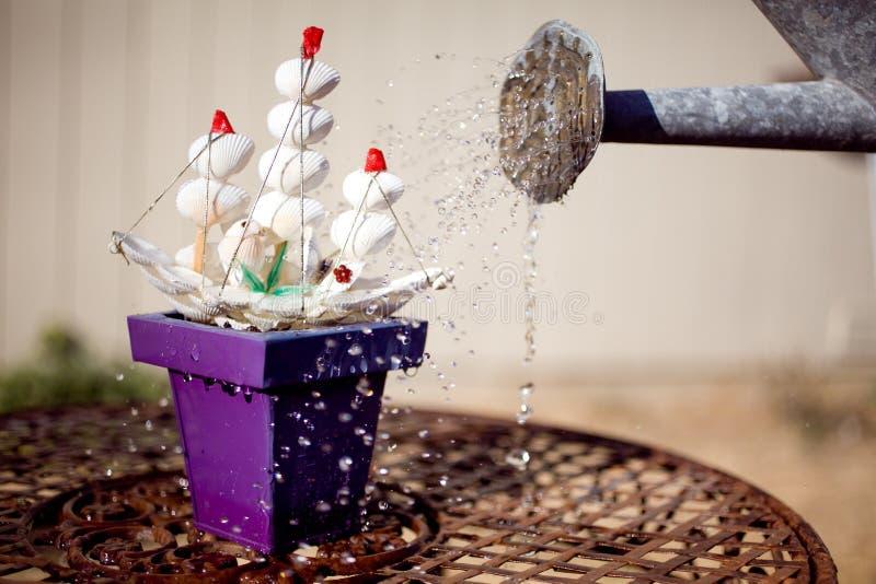 Overkliga Toy Ship Growing i blomkruka royaltyfri foto