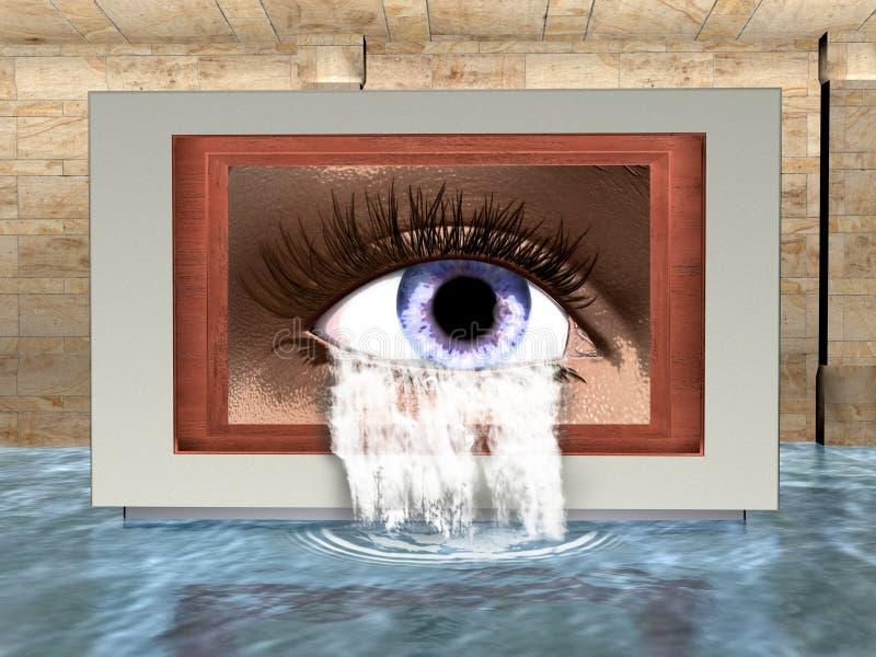 Overkligt öga, gråt, vattenillustration royaltyfri illustrationer