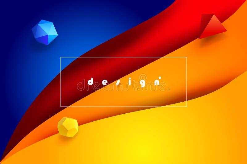 Overkligt 3D papper Art Fluid Color och minsta rengöringsdukvärld vektor illustrationer