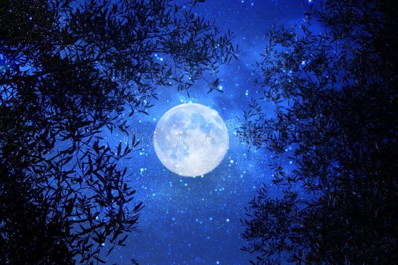 Overkligt fantasibegrepp - fullmånen med stjärnor blänker i bakgrund för natthimlar arkivfoton