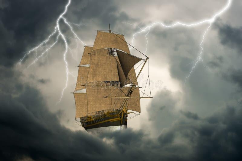 Overkligt högväxt seglingskepp, moln royaltyfria foton