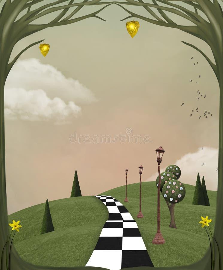 Overkligt landskap för land i våren stock illustrationer