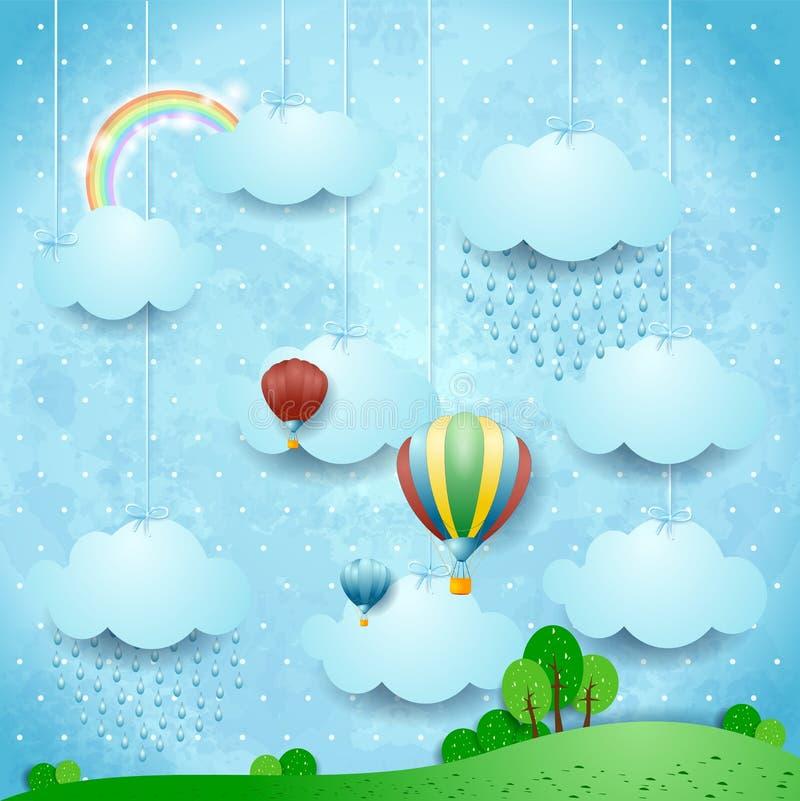 Overkligt landskap med ballonger för regn och för varm luft vektor illustrationer