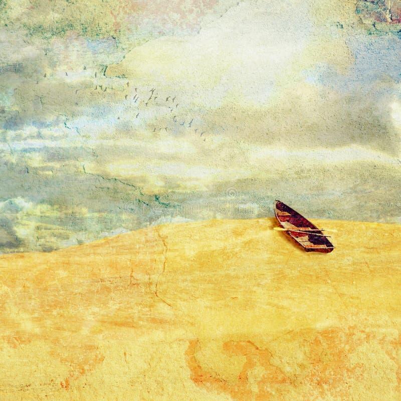 Overkligt landskap med det marooned ökenradfartyget arkivfoton