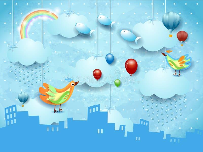 Overkligt landskap med horisont, regn, ballons, fåglar och flygafisches royaltyfri illustrationer