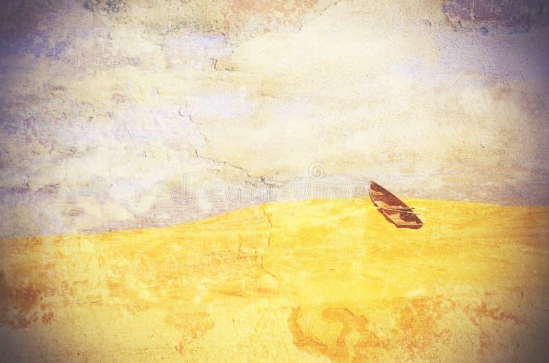 Overkligt radfartyg marooned i öknen arkivfoton