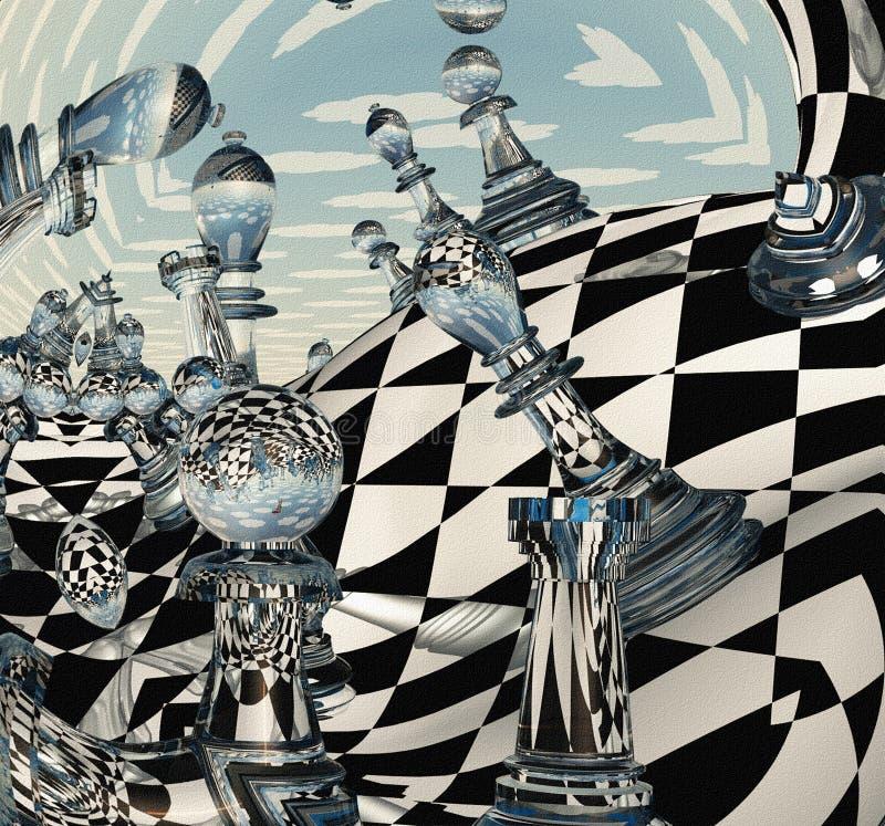 Overkligt schacklandskap royaltyfri illustrationer