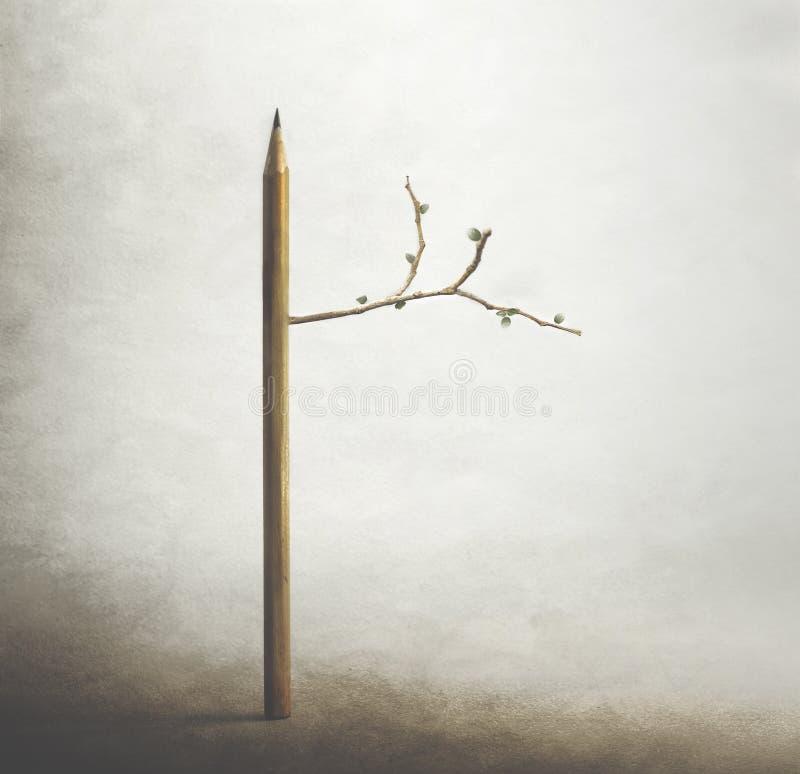 Overkligt träd med blyertspennastammen, begrepp av liv och vårtid arkivbilder