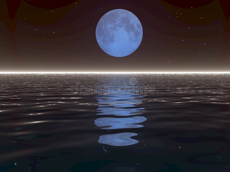 overkligt vatten för moon royaltyfri illustrationer