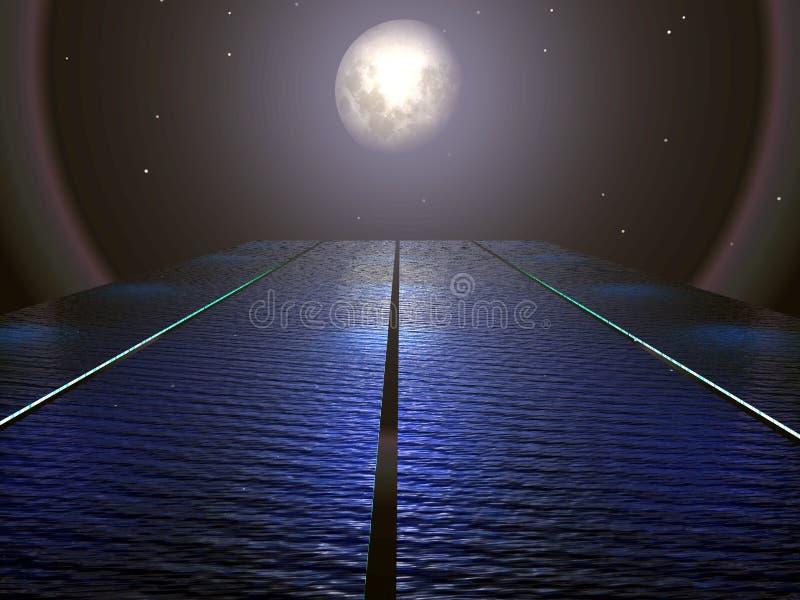 overkligt vatten för moon stock illustrationer