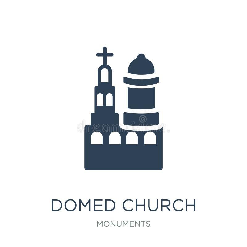 overkoepeld kerkpictogram in in ontwerpstijl overkoepeld die kerkpictogram op witte achtergrond wordt geïsoleerd overkoepeld eenv royalty-vrije illustratie