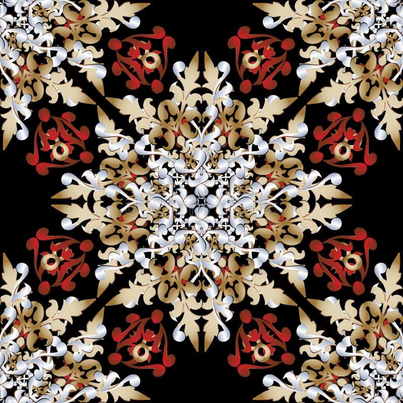 Overladen Barok vector naadloos patroon Luxe sier bloemenachtergrond Het uitstekende barokke Victoriaanse ornament van het stijld vector illustratie