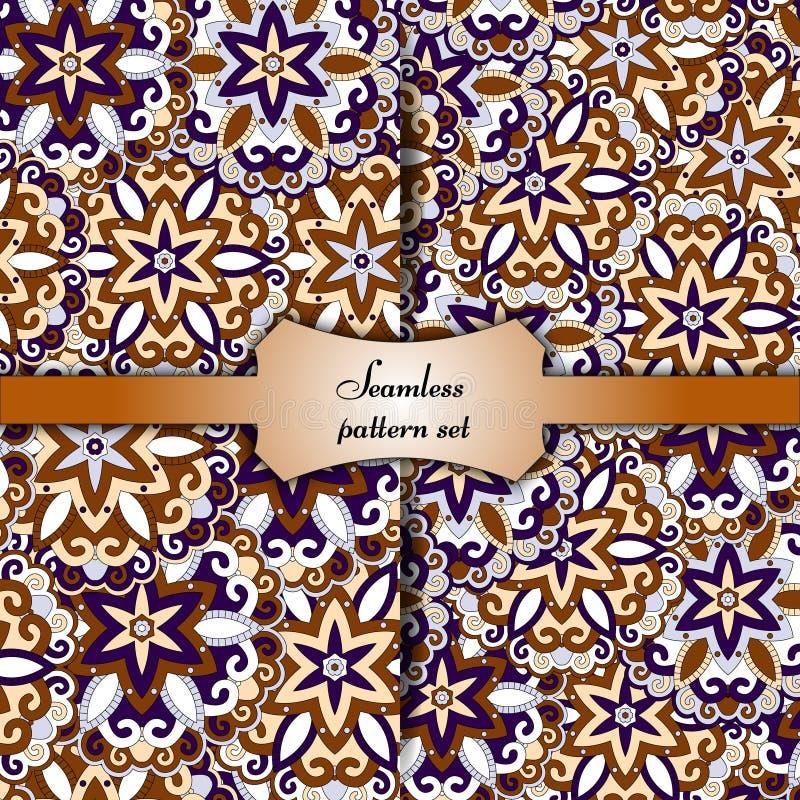 Overladen bloemen naadloze textuur, eindeloos patroon met uitstekende mandalaelementen stock illustratie