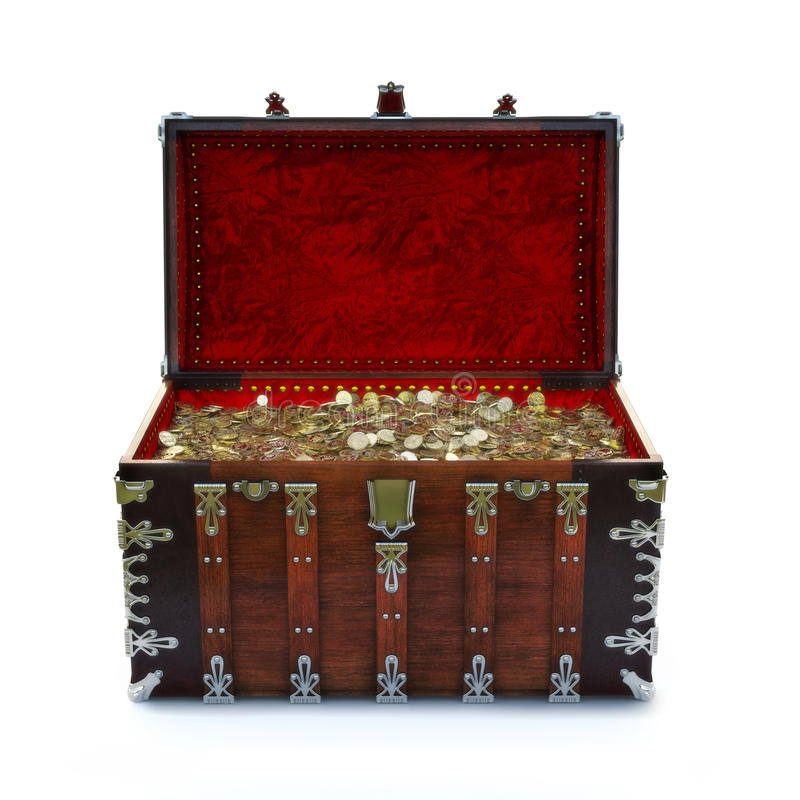 Overladen die borst met gouden muntstukken op een geïsoleerde witte achtergrond wordt gevuld stock illustratie
