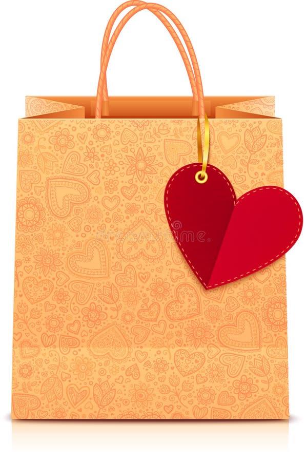 Overladen document het winkelen zak met hartetiket royalty-vrije illustratie