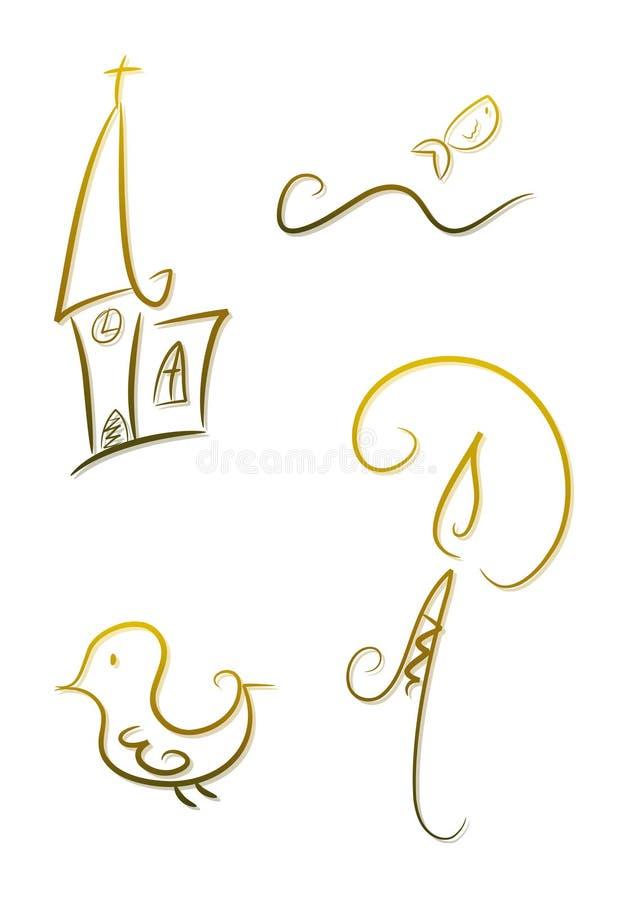 Overladen godsdienstige symbolen royalty-vrije illustratie